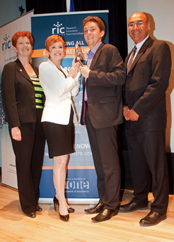 LEFT TO RIGHT: Pam Banks, commercialization director, The RIC Centre; Pattie Lovett-Reid, host of CTV's Ask Pattie Show; Andrew White, founder of CHAR Technologies and winner of 2012 Innovator Idol; and Bhupinder Randhawa, partner at Bereskin & Parr LLP and head of the firm's Software/High Technology practice group.