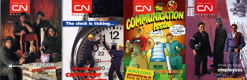 Front covers of CN Magazine, 1997 to 1998. The publication was sent to 26,000 CN employees six times a year and featured articles on business metrics, culture change, communication, customer case studies, the results of corporate research, and employee profiles.
