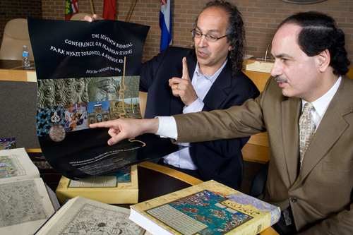 Behzad Ranjbaran, composer of The Persian Trilogy, right, and Dr. Mohamad Tavakoli-Targhi, professor of Iranian Studies at the University of Toronto, left, at the news conference. This photo ran in The Toronto Star in August 2008.