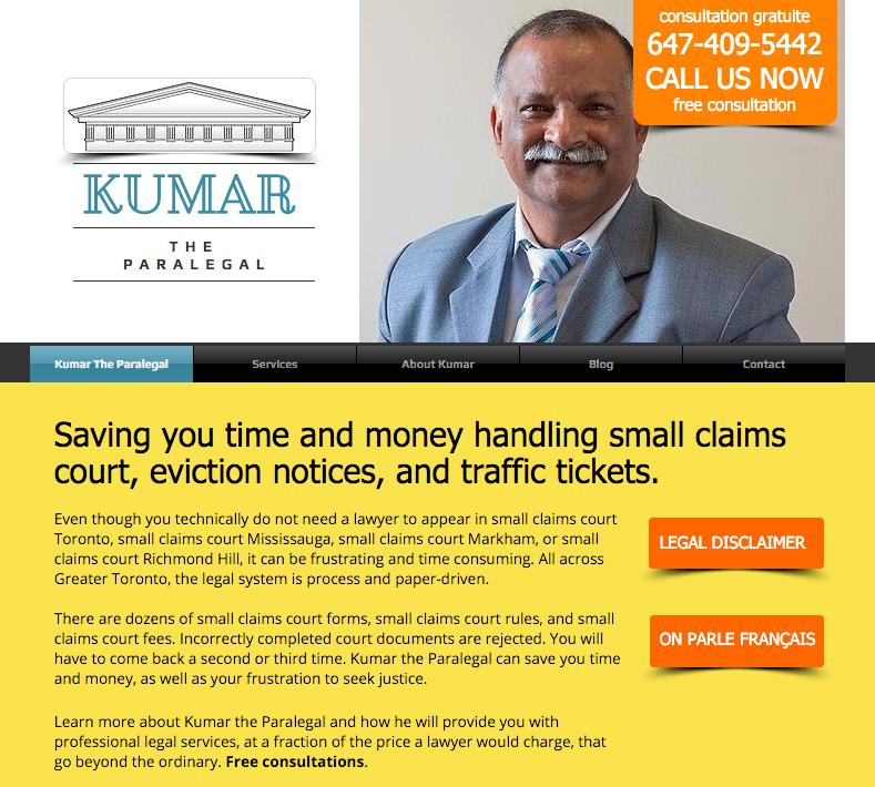 Website screenshot of Kumar, the Paralegal