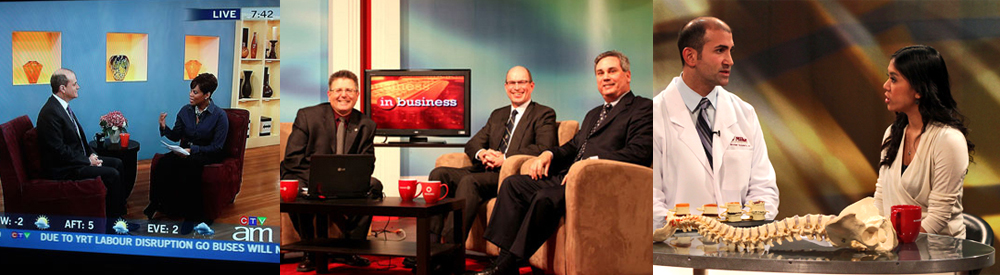 LEFT TO RIGHT: FPC client Andrew Feldstein is interviewed by Marci Ien, host of Canada AM; Ray Mikkola, partner at Pallet Valo (centre) and FPC client is interviewed by David Wojcik (right), host of In Business, Rogers Cable Mississauga; and Dr. Mike the Chiropractor is interviewed by Emily Anonuevo, host of In the Know, Rogers York Region
