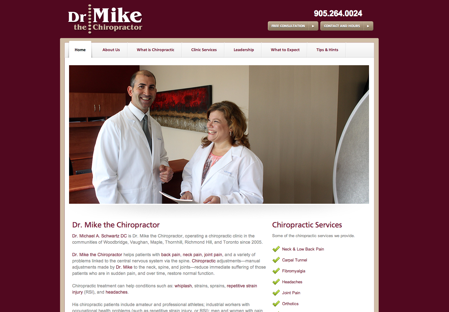 We created the Dr. Mike the Chiropractor brand, logo, printed his clinic's stationery, and then created this 30-plus page website- all part of a business turnaround.